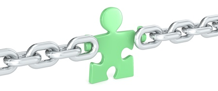 missing link: Green Solution. Puzzle people holding Chain Link. Green. Stock Photo