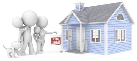 Haus zu verkaufen: The Dude mit der Familie sucht am Haus zu verkaufen Standard-Bild