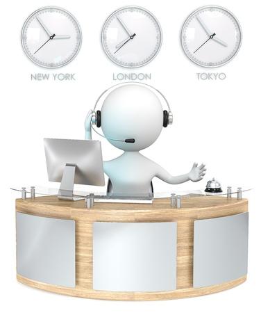 Réception réception classique avec 3 Horloges réceptionniste parle sur le casque