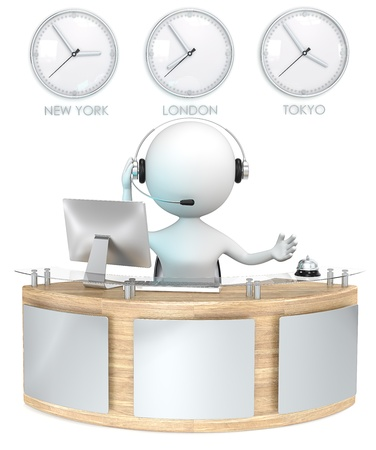front desk: Reception  Classic reception with 3 Clocks  Receptionist talking on headset  Stock Photo