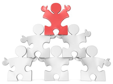 Business Pyramid  Puzzle peoples in Pyramid Formation  Red Stock Photo - 20454066