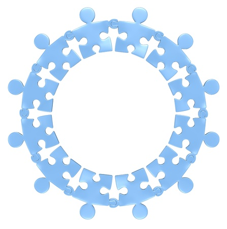 Teamwork  Puzzle people holding hands in circle  Blue  Isolated  Stock Photo - 20454073