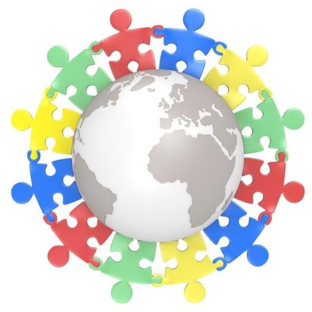 Multikulturelles Puzzle Menschen Hand in Hand um den Globus Farbe Version Isoliert