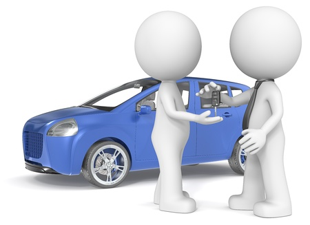auto leasing: The Dude getting car keys from dealer  Blue no branded car