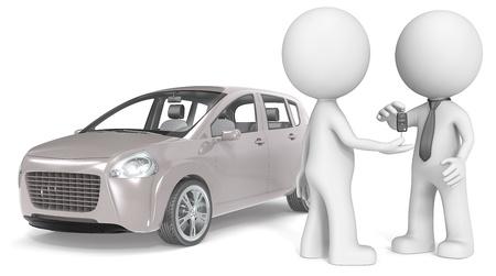 ブランド車、温かみのあるグレーの車を買う男