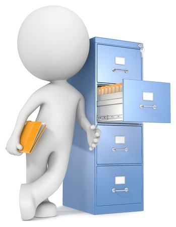 Organization  The Dude leaning against file cabinet  Holding file Stock Photo - 21013798