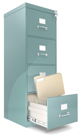 archives: File Cabinet  Classic file cabinet with lock  One open drawer  Copy Space  Stock Photo