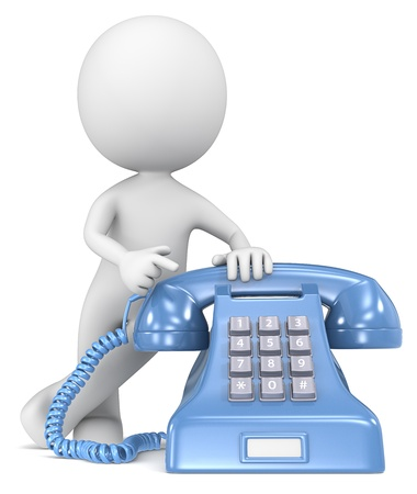 dude: Call  The Dude pointing at a classic telephone  Blue with white label