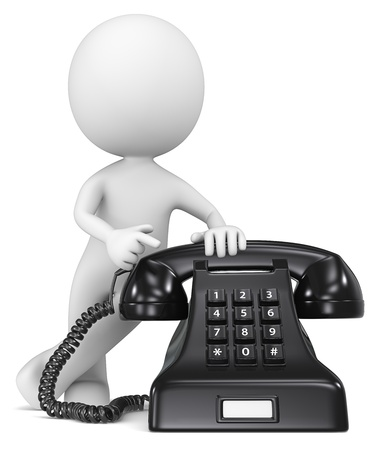 telephony: Call Us  The Dude pointing at a classic black telephone