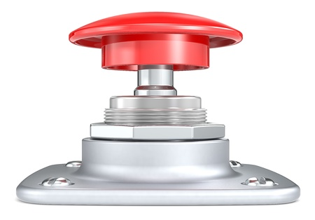 powerbutton: Red push button  Side view  Stock Photo