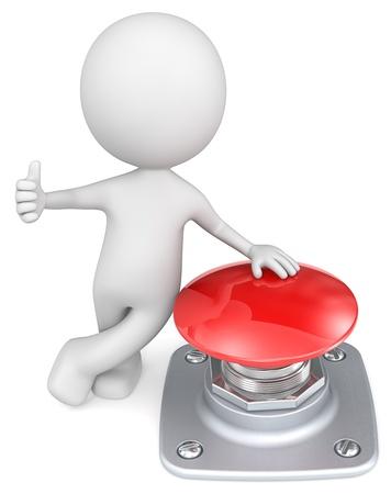 the little man: Red Button The Dude con il pollice e la mano sul pulsante rosso