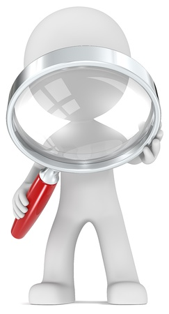 Magnifying Glass  The Dude with magnifying glass  Metal, red handle