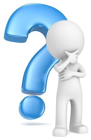 вопросительный знак: Думаю, что чувак в классической позе перед синий знак вопроса