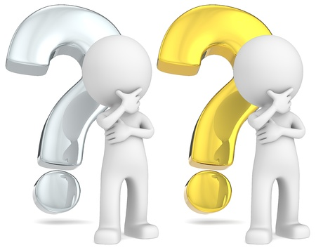 The Dude in front of silver and gold question marks Stock Photo - 21454514