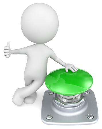 Green Button The Dude mit Daumen und Hand auf grüne Taste