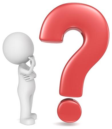 вопросительный знак: Почему Чувак смотрит на красный вопросительный знак Фото со стока