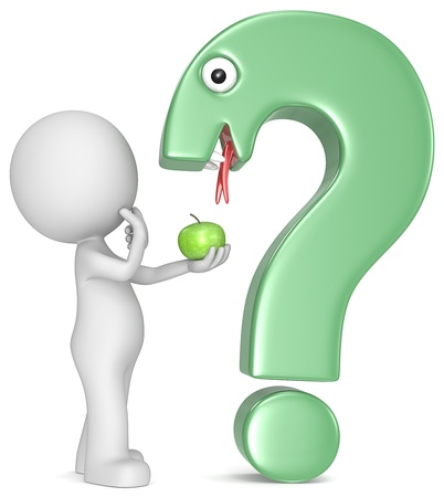adam eve: The Dude, an apple and a question mark made like a snake  Stock Photo