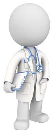 Der Doktor Geck der Arzt hält Zwischenablage Blau Thema Farbe Standard-Bild