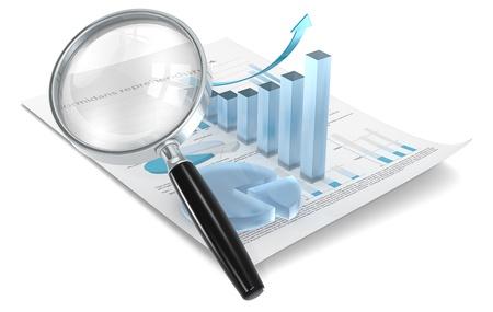 Vergrootglas op Financiële document met 3D-grafiek en cirkeldiagram van matglas
