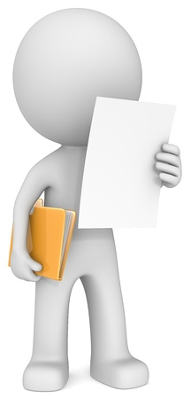 orange man: The Dude reading document adn holding manila folder  Stock Photo