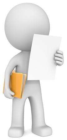 dude: The Dude reading document adn holding manila folder  Stock Photo