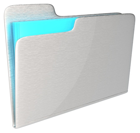 Brushed Metal Folder Abstract Brushed metal folder with blue light glass content Stock Photo - 21454536