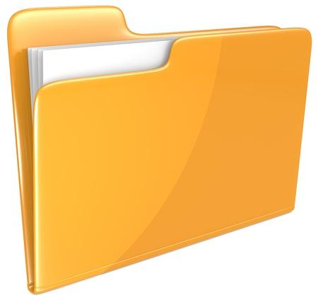 Orange Ordner öffnen Ordner mit Papieren orange Standard-Bild