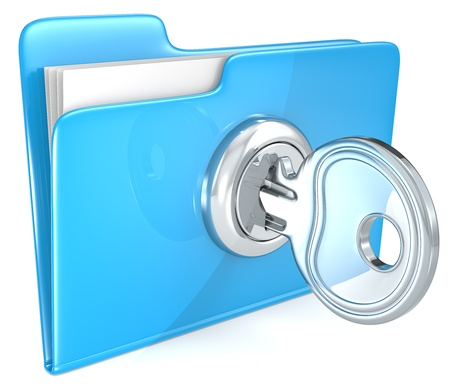 Secure files  Blue Folder with Key   Stock Photo - 21454542