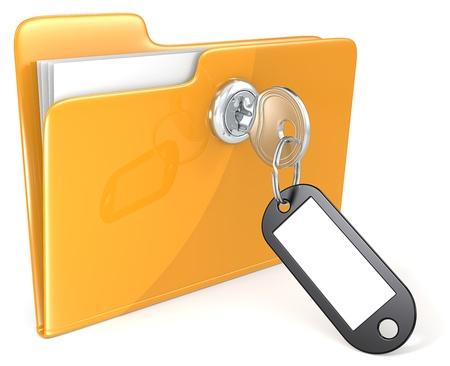 Ordner mit Schlüssel, Schlüsselanhänger und Aufkleber Textfreiraum