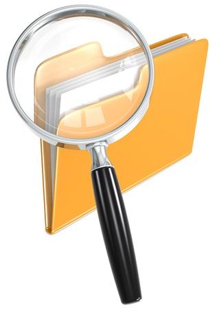 categorize: Search  Magnifying Glass over folder  Orange  Stock Photo