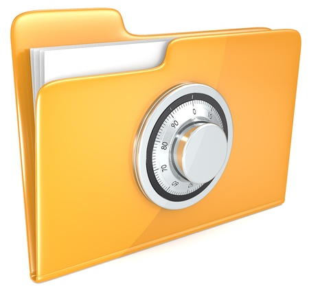 restrict: File protection  Folder with combination lock   Stock Photo