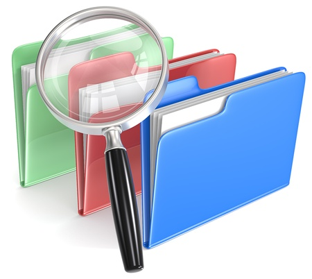 an investigation: Search Magnifying Glass over 3 folders  Blue, red, and green  Stock Photo