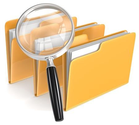 3 フォルダーの検索の虫眼鏡 写真素材