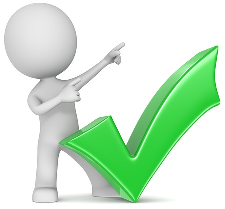 succeed: Succeed  The Dude with green check mark  Pointing upward  Stock Photo