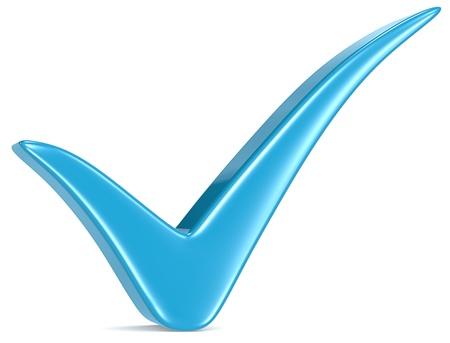 Blue Check Mark, weißer Hintergrund Standard-Bild