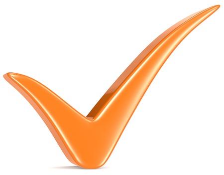 오렌지 체크 마크, 흰색 배경 스톡 콘텐츠