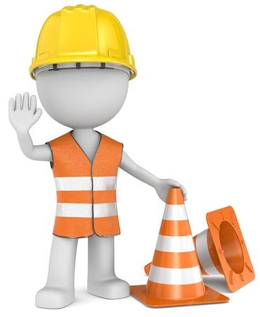 sicurezza sul lavoro: Smettere The Dude gesticolando arresto con l'elmetto protettivo mano e riflessione gilet