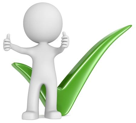 Si el tipo con los pulgares para arriba delante de la marca de verificación de color verde Foto de archivo - 21934217