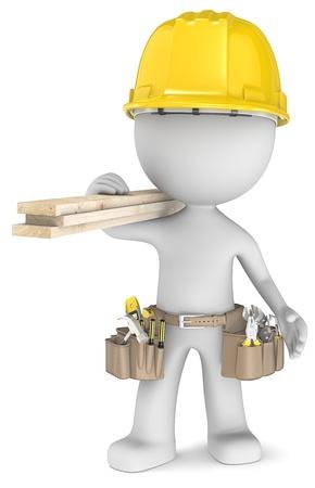Der Tischler Geck die Carpenter, Durchführung Werkzeuge und Holzplanken Standard-Bild