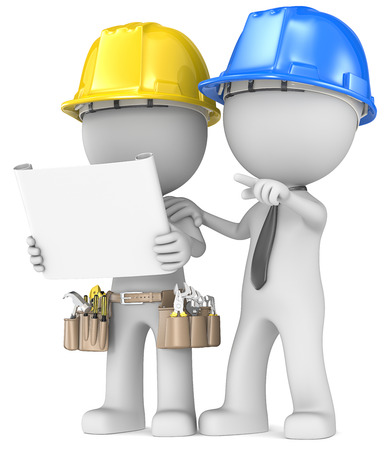 Building project planning  Dude the Builder with contractor looking at blueprint