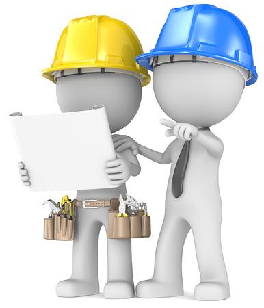 petit bonhomme: Construire la planification du projet Mec le constructeur avec l'entrepreneur regardant le mod�le