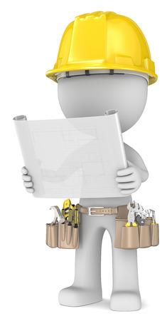 dude: Blueprint  Dude the Builder holding a blueprint  Semi transparent
