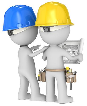 Planung Geck die Builders x 2 Blick auf Blaupause Rückansicht Standard-Bild