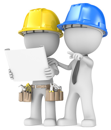 project planning: Building project planning  Dude the Builder with contractor looking at blueprint