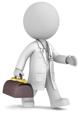 experienced: Experienced doctor  Dude the Doctor waling with retro doctors bag  Stock Photo