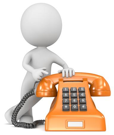 Rufen Sie uns an The Dude, der auf einem klassischen Telefon Orange mit White-Label-