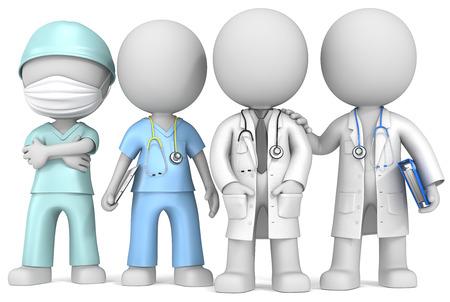 Artsen en verpleegkundige Dude de artsen en verpleegkundige x 4 staan in een rij