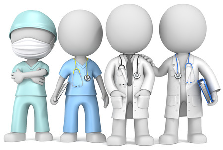 hospitales: Los m�dicos y la enfermera Dude los doctores y la enfermera x 4 que se coloca en una fila