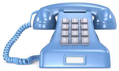Blue classic retro telephone  White label Stock Photo - 23123192