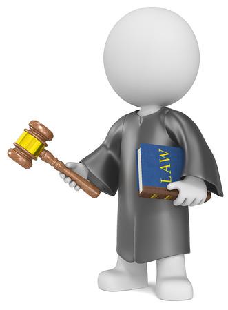 Der Richter Geck die Richter halten Gesetzbuch und Hammer